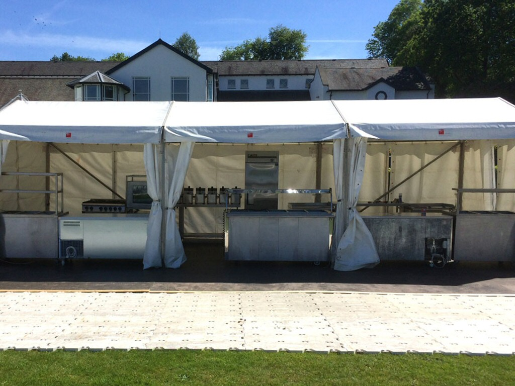 Catering marquees provided for the Great North Swim event at Lake Windermere in Cumbria.
